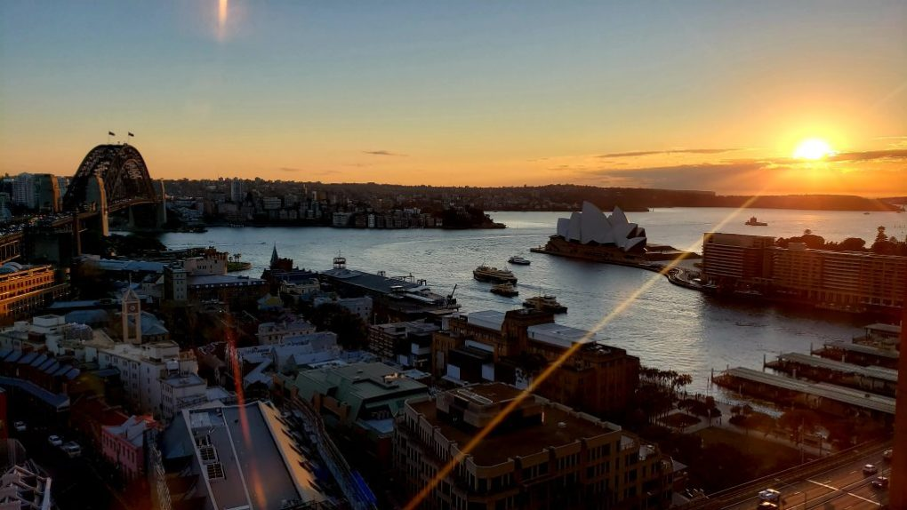 quay west Sydney harbour sunrise